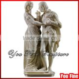 Hand Carved White Marble Man And Woman Statue
