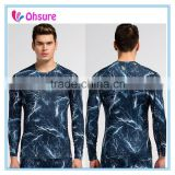 sublimation printing mens long sleeve t shirt sports t shirt polyester compression shirt
