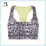 Best selling items all over geo print black padded sports crop top slim fit breathable sports bra