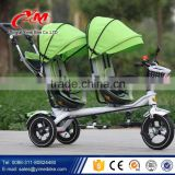 EN standard stroller baby pram tricycle three air wheels / baby product two seats baby tricycle / children tricycle rubber wheel