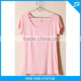 Fashion Ladies Pink Blank Tshirt With Custom Logo                                                                         Quality Choice