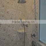 bathroom tile design wall decoration natural stone marmol, round stone mosaic water jet marble