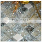 cold crack crystal glass mix stone mosaic tile, ice crack effect glass mosaic for wall decoration