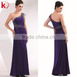 Exquisite Embroidered Flower Patterns One-shoulder Royal Blue Mermaid Dress