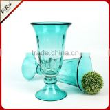 Wholesale direct sales creative glass vase for wedding centerpiece / Flower shape cheap glass flower vase for terrarium