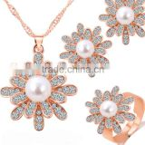 Small business chain necklace crystal earring with korea rings 4pcs sets wedding pearl rose gold filled jewelry