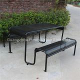 Powder coated perforated steel picnic table metal outdoor table