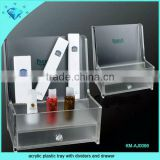 acrylic plastic tray with dividers and drawer