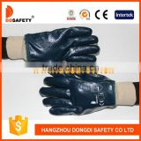 DDSAFETY Cotton Jersey Liner Fully Coated Blue Nitrile Coated Glove With Knit Wrist Cuff