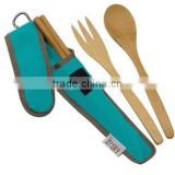 2017 top selling bamboo cutlery with cloth sleeve