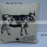 Good Sale 14''L Antique Burlap Cushion Crafts with Cow Design