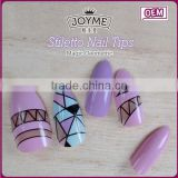 Yiwu Factory Hot Sale Stiletto Nail Tip Magic Geometric Glue Applicator Tip Artifical Finger Nails