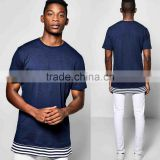 Custom T Shirt Printing, Bulk Wholesale Men 100% Cotton Longline T-Shirt With Extended Stripe Hem