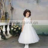 white high neck baby gown sequins beaded beach flower girl dresses