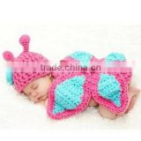 2015 Winter Hot Coming Butterfly Knitted Clothes Warm Cute Infant Newborn Crochrt Outfits