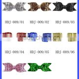 Wholesale Lastest Plain Color Sequins Hairbows Metal Accessories Baby Girl Bow Hair Clips Grips