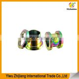 Screw Fit Flesh Tunnel Rainbow And Stainless Steel Plugs Evil Eye Body Jewelry