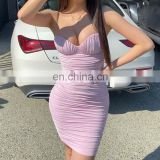 Custom Bandage Women Solid Slips Dress Summer Club Bodycon Package Hip Tight Fitted Mini Dresses Sexy