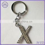 alphabet letter X rhinestone key chain charm from factory wholesale