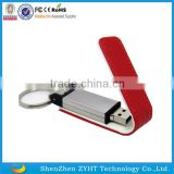 wholesale leather usb flash drive with keyring in full capacity with engraved cusotmer Logo