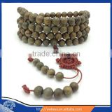 10mm Tibet Buddhism 108 authentic Green Sandalwood Prayer Meditation Bead Mala with big wheel Knot