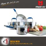 sample available stainless steel cookware belly shape cookware set , different size stainless steel cookware set