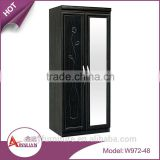 Hotel bedroom set 2 hinged mirror doors wardrobe closet easy install no folded MDF wood wardrobe clothespress