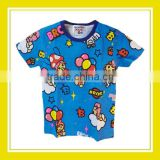 2016 Fashion Products Bros Baby Rinne Flying in the Sky with Balloons Girl Cotton Printed Short Sleeve Blue T-Shirt