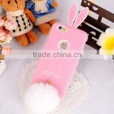 Soft TPU Genuiue Rabbit colorfull Fluffy Fur Tail Ball Phone Case Lxuxry Phone Case for Iphone and for Samsung