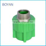 chinese manufacturer taizhou plastic ppr pipe fitting green brass male adaptor