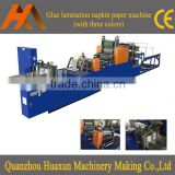 Automatic printed serviette paper embossed folder lamination tissue napkin making machinery