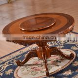Dining room set solid rubber wood round table dining with lazy susan turntable