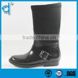 Anti-skidding Waterproof Black Women Custom Buckle Rain Boots