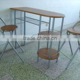modern wooden metal MDF panel type dining table and chairs set couple table set for breakfast