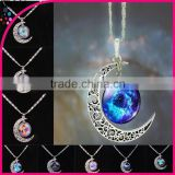 The European and American fashion accessories Time gem star moon necklace