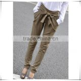 2015 high waist women Skinny Long Trousers OL casual Bow harem pants plus size Black Khaki Fast shipping Guangzhou Baiyun C58
