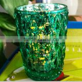 Wine Green Mosaic Glass With Flameless led Candle With Timer Work