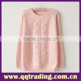 Youthful pure color round collar girls pullover fashion cashmere sweater