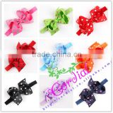 New Arrival High Quality Girl Knot Bows Headband Elastic Polka Dot Ribbon Knot Headbands