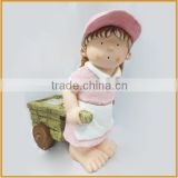 wholesale polyresin small girl figures with carts decorative