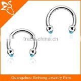 316l steel Circular Horseshoes Gem Captive Bead Ring Piercing Body Jewelry