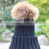 Wholesale Knitted Pure Cashmere Raccoon Fur Pompom Beanie Hats