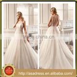 VDN05 Beautiful Peach Colored Crystal Beaded Wedding Dress with Long Train Bridal Lace Fabric Wholesale for Weddings
