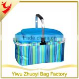 High Quality 600D Polyester and 4MM Aluminum Foil Fancy Cooler Basket with Top Open Pocket