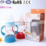 High quality factory BPA free new design customized decal fancy eco-friendly glass baby milk feeding handle bottle for infant