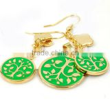 Gold plated life trees green epoxy pendant stainless steel big fashion jewelry set beautiful jewelry set moti jewelry set LS6214