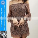 The new Europe lady lotus leaf collar sleeve lace skirt transparent part wear sexy beach dress