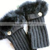 Wholesale High Quality Long Fingerless Knitted Wool Gloves with Real Rabbit Fur Gloves for Fashion Girls Typing