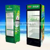 commercial upright glass door refrigerated beer chiller for supermarket