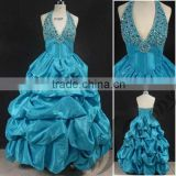 Turquoise open chest V neckline halter ruffle beaded ball gown indian evening dress